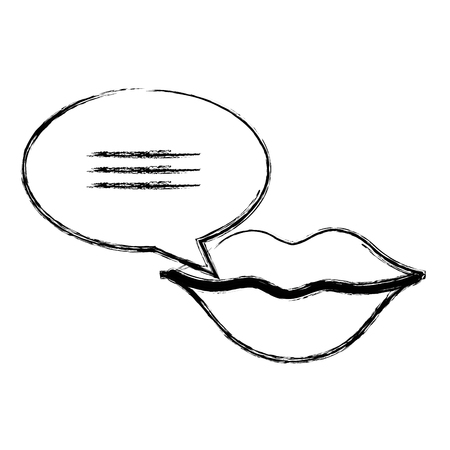woman lips sensuality with speech bubble vector illustration design