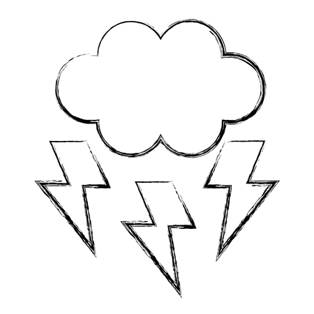 cloud with thunders icon vector illustration design Stock Vector - 96254461