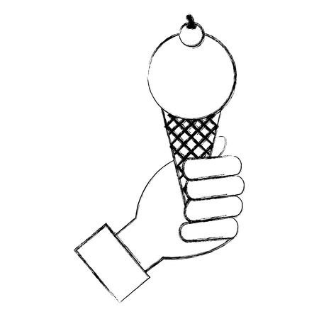 hand with delicious ice cream icon vector illustration design