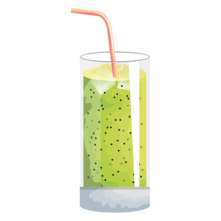 tropical cocktail in glass vector illustration design  イラスト・ベクター素材