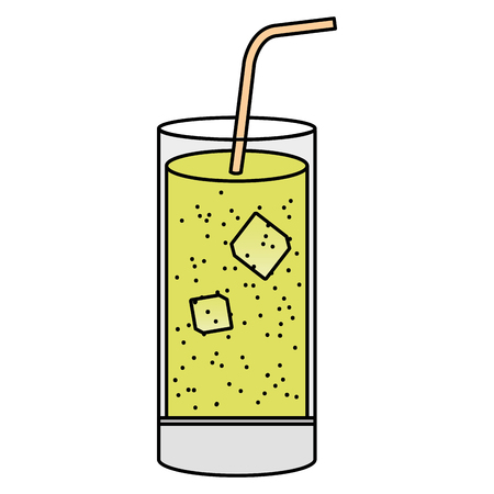 tropical cocktail in glass vector illustration design Illustration