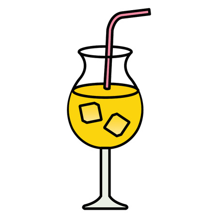 tropical cocktail in cup vector illustration design