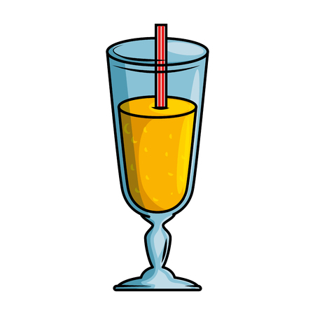 Delicious juice cup with straw vector illustration design 向量圖像