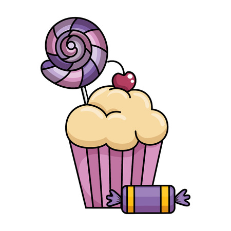 delicious and sweet cupcake with candies vector illustration design