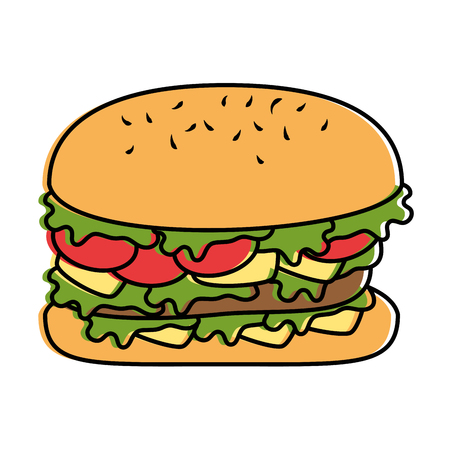 Delicious burger fast food vector illustration design