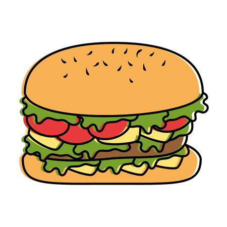 Delicious burger fast food vector illustration design
