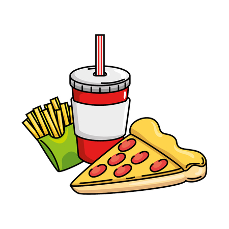 delicious pizza portion with soda and french fries vector illustration design