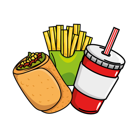 Delicious Mexican burrito with soda and french fries vector illustration design