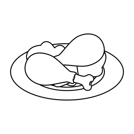 delicious chicken thighs in dish with lettuce vector illustration design