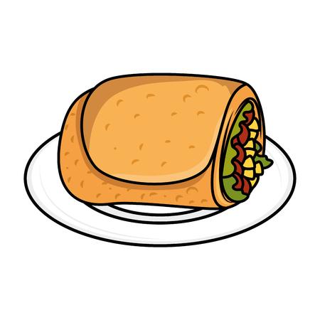 delicious Mexican burrito in dish vector illustration design Çizim