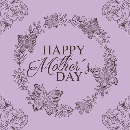 花と蝶の装飾描画のリースデザイン - 幸せな母の日のコンセプトベクトルイラスト