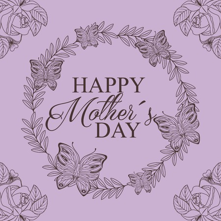 Wreath design of floral and butterflies decoration drawing - happy mothers day concept vector illustration