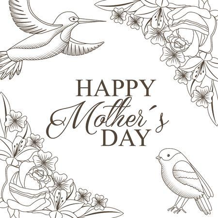 幸せな母親の日のお祝いコンセプトベクターイラストのための花や鳥の描画とエレガントな装飾