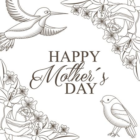 An elegant decoration with flowers and birds drawing for happy mothers day celebration concept vector illustration