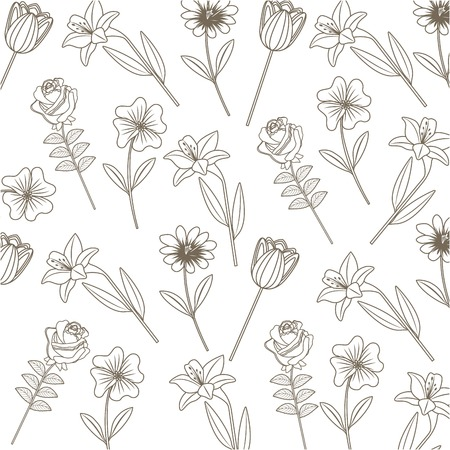 A seamless drawing of flowers decoration pattern roses lilies stem leaves