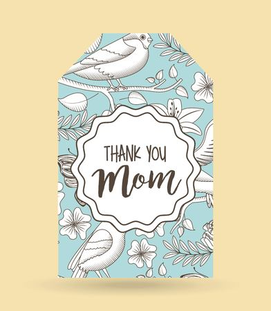 A delicate card invitation with flowers and bird design for happy mothers day concept vector illustration Illusztráció