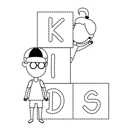 kids with blocks characters vector illustration design