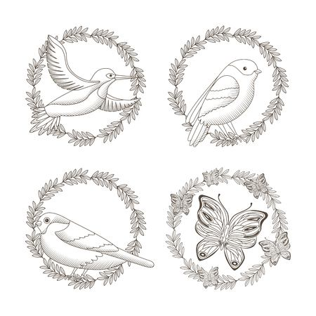 Collection set of decorative drawing of wreath symbol with  flowers, birds and  butterfly designs