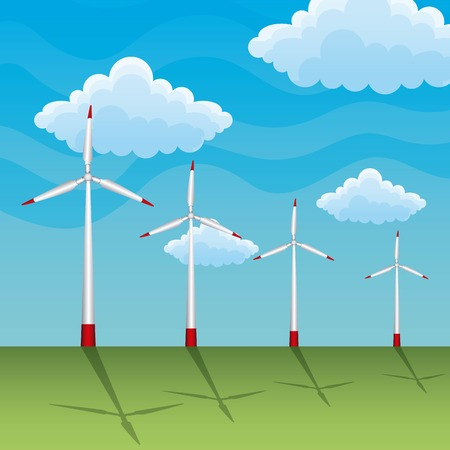 landscape with wind turbine clouds vector illustration