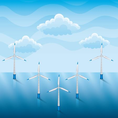 wind turbines on a sea renewable energy vector illustration Çizim