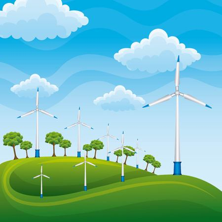 Wind turbines on a green meadow tree producing electricity with blue sky vector illustration