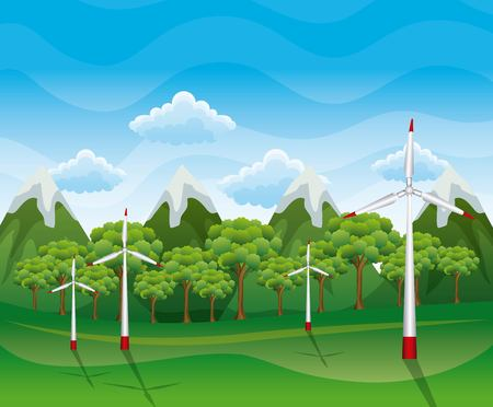 A landscape of renewable energy source and wind turbine vector illustration