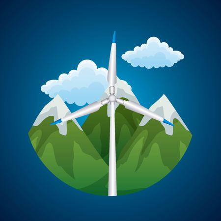 Renewable energy source concept of wind turbine peak landscape vector illustration Çizim