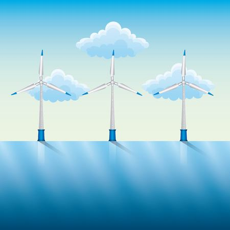 Natural energy source concept, with windmills and power by the river blue sky vector illustration