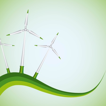 Natural source of green energy concept with wind turbines generator vector illustration