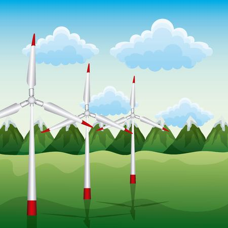 Wind turbines on the mountains for renewable energy ecology vector illustration Ilustração