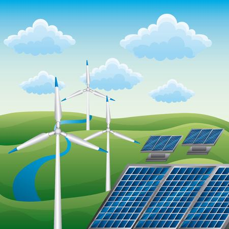 Wind turbine and solar panel for alternative energy source concept by the river nature vector illustration Иллюстрация
