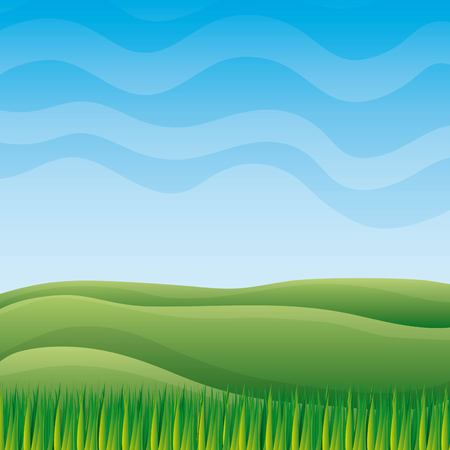 Green nature landscape with sky hills and grass vector illustration