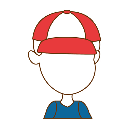 cute faceless little boy vector illustration design