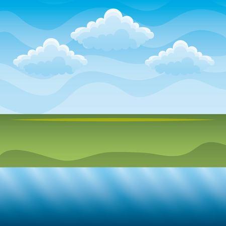 緑の丘と青い川の空の風景ベクトルイラストクリーンな環境コンセプトのための