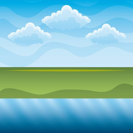 깨끗 한 환경 개념에 대 한 녹색 언덕과 푸른 강 하늘 풍경 벡터 일러스트 레이 션 일러스트