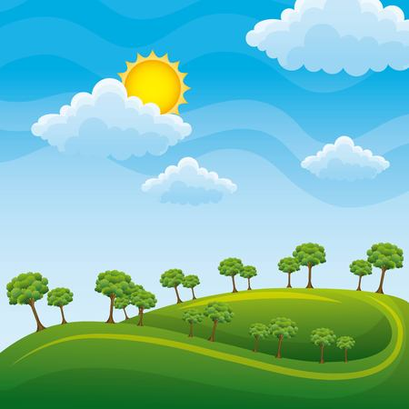 Green landscape with trees clouds meadow vector illustration, clean environment concept Ilustração