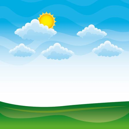 Nature landscape with green hills and meadows blue sky and clouds vector illustration, healthy environment concept