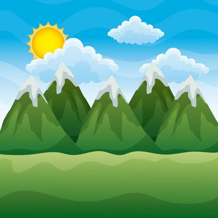 A background landscape with mountains and shiny sun day picture vector illustration
