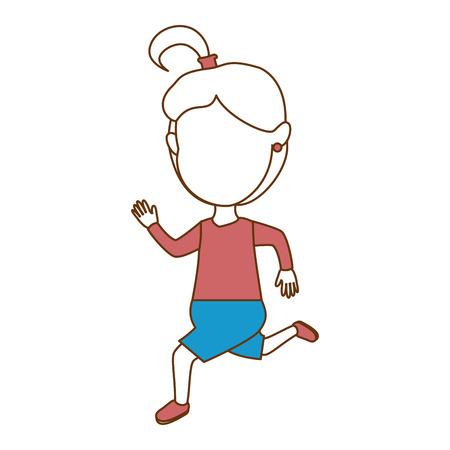 cute faceless little girl celebrating vector illustration design