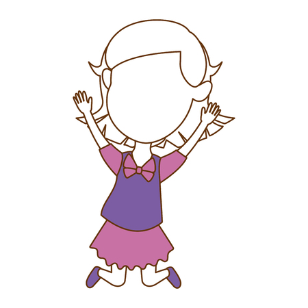 cute faceless little girl celebrating vector illustration design