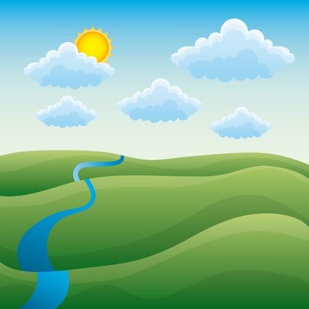 Cartoon natural scene landscape with green hills river cloud sun vector illustration Illustration