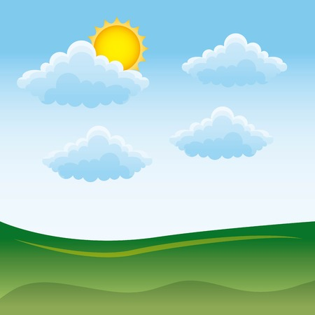 A landscape of natural meadow with cloud and sun  vector illustration