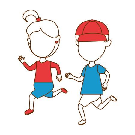 cute faceless little kids celebrating vector illustration design