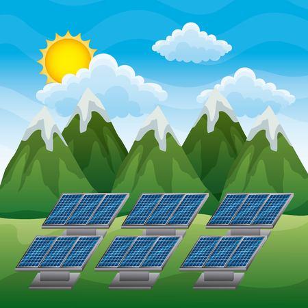 NErgie propre panneaux solaires paysage de montagne illustration vectorielle Banque d'images - 96278005