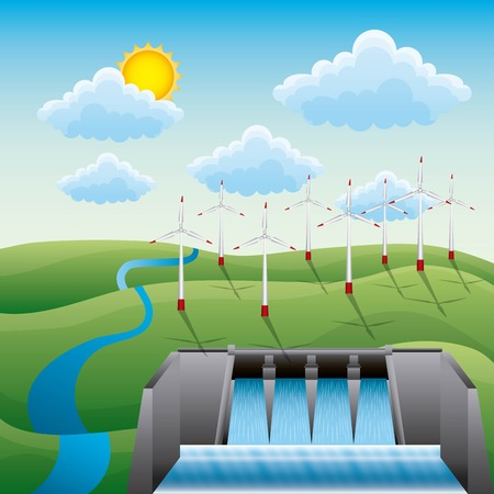 An hydroelectricity dam windmills landscape water electricity source creative renewable vector illustration