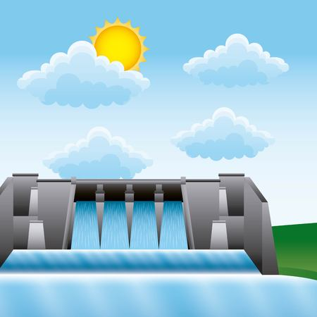 Hydroelectric water power dam source for generating renewable electricity vector illustration Ilustração