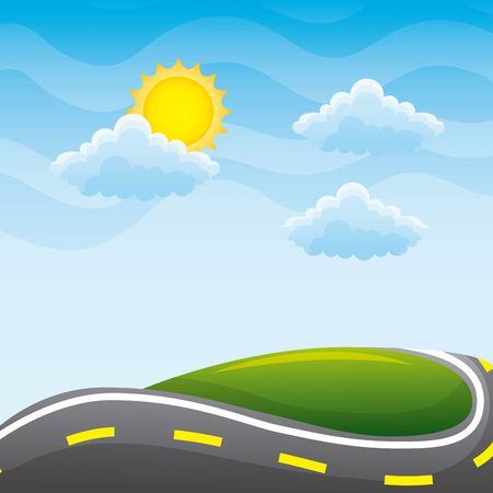 舗装された道路の丘の雲の太陽の風景図の美しい眺め