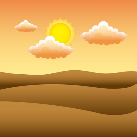 Landschap van zonsondergangmening in de vectorillustratie van de bergenwoestijn