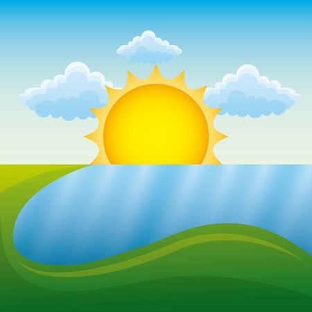 Summer landscape with grass, meadow  and  river vector illustration