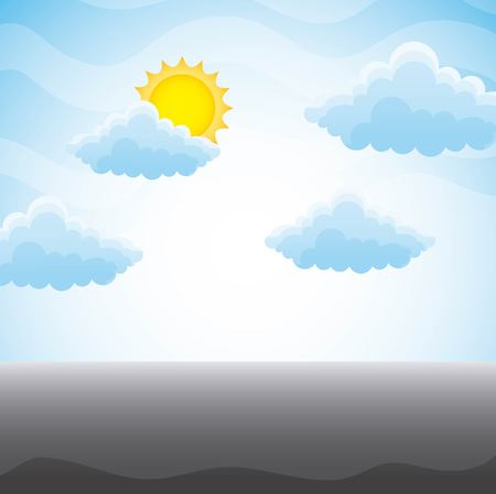 A cloudy meadow landscape with sun on blue sky vector illustration Illustration